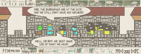 Sire, the barbarians are at the gate and we still don't have any archers! — Well, Sir Biff, we must make use of what we have!