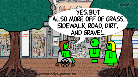 Yes, but also more off of grass, sidewalk, road, dirt, and gravel.