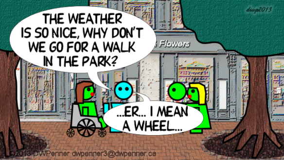 The weather is so nice, why don't we go for a walk in the park? ...er... I mean a wheel...