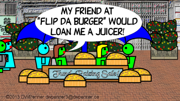 "My friend at ""Flip Da Burger"" would loan me a juicer!"