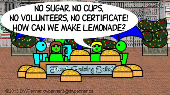 No sugar, no cups. no volunteers, no certificate! How can we make lemonade?